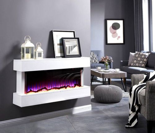 BRANDED 50 INCH LED FLAMES WHITE/BLACK MANTEL GLASS WALL MOUNTED ELECTRIC FIRE